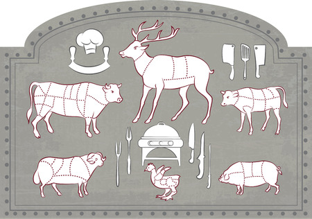 venison: Vector illustration of Diagram Guide for Cutting Meat in Vintage Style