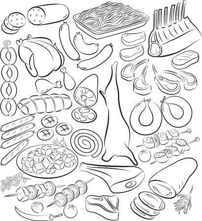 dibujos lineales: Ilustraci�n del vector de la colecci�n de productos c�rnicos en el modo de l�nea de arte