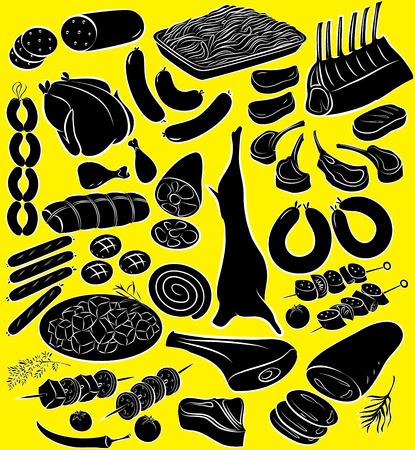 Vector illustratie van vleesproduct collectie in silhouet mode