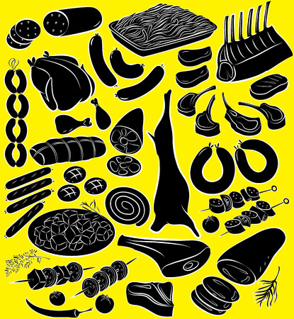 Vector illustration of meat product collection in silhouette mode