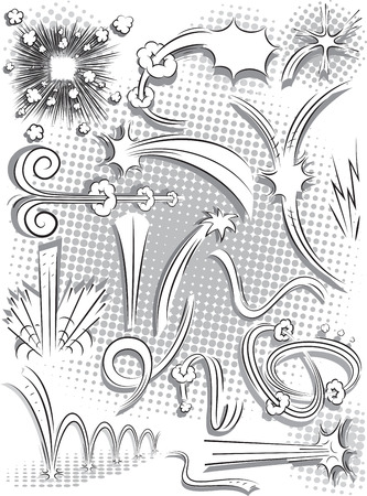 Vector Verzameling van comic spraak, geluid en actie effecten op een witte achtergrond Stock Illustratie
