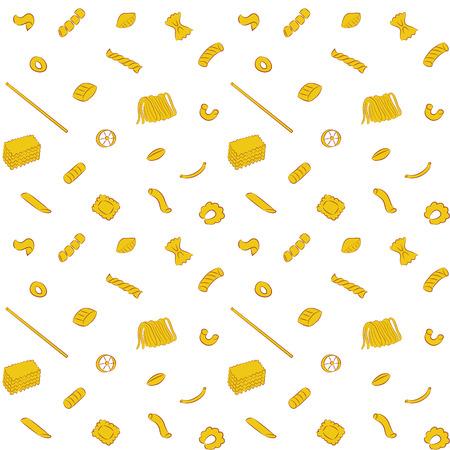 Vector illustratie van naadloze Pasta Collection Patroonachtergrond Stock Illustratie