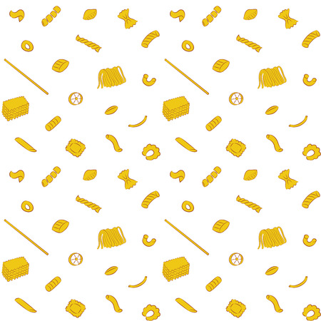 Vector illustration of seamless Pasta Collection Pattern Background