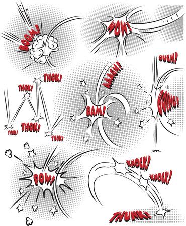 Vector collectie van komische geluidseffecten in lijntekeningen mode Stock Illustratie