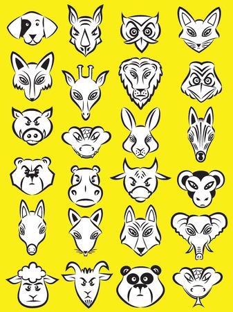Vector illustratie van cartoon dieren hoofd collectie in lijntekeningen modus