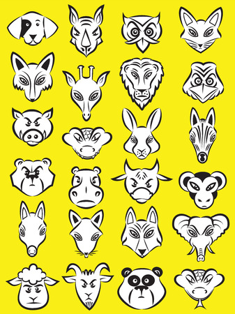 Vector illustration of cartoon animals head collection in line art mode