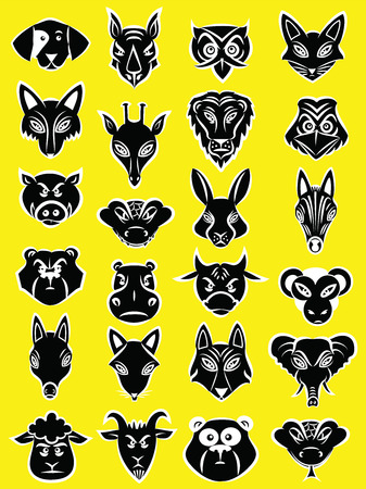 Vector illustratie van dieren hoofd collectie in silhouet modus