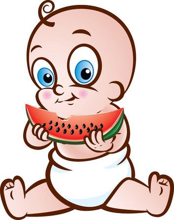 Vector illustratie van een leuke zitting van de baby eet watermeloen op een witte achtergrond