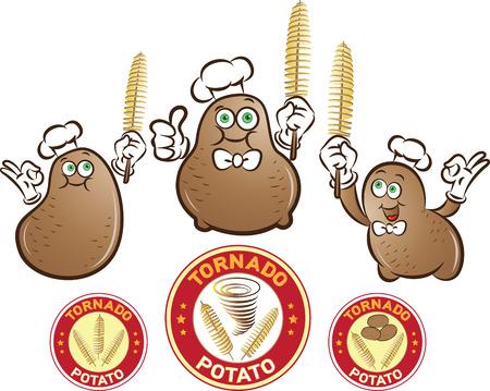 Ilustración vectorial de personajes de patatas con patatas chips de espiral se pega en la mano y etiquetas Ilustración de vector