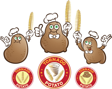 Vector illustration of potato characters with spiral potatoes chips sticks in hand and labels