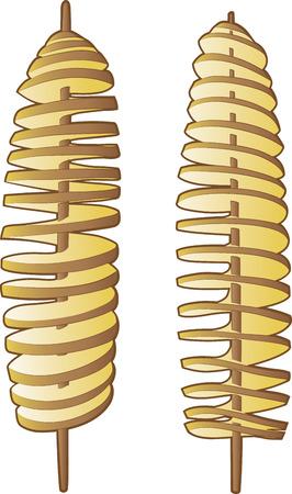 Vector illustration of spiral potatoes sticks on white