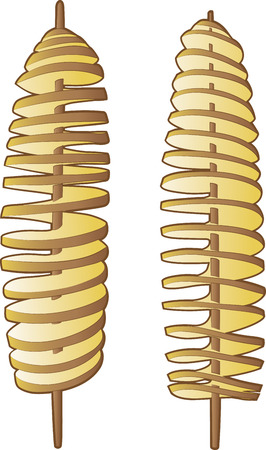 Vector illustratie van de spiraal aardappelen stokken op wit
