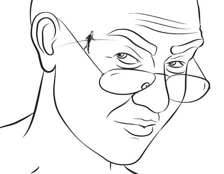 illustratie van de koorddanser op de draad arm van een bril als eigenaar van een bril kijkt hem achterdochtig.