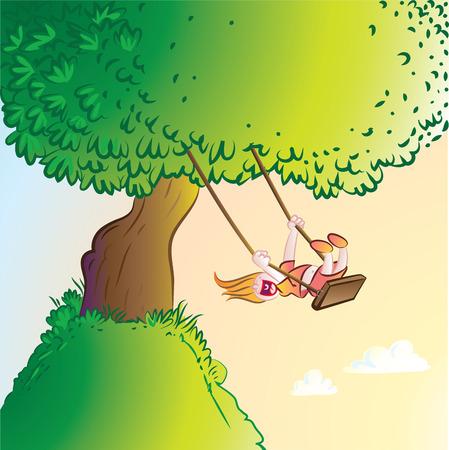 Vector illustratie van meisje spelen op een schommel
