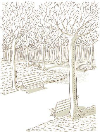 Vector illustratie van het park in de herfst in kleurenmodus Stock Illustratie