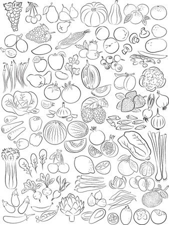 Ilustracji wektorowych owoców i warzyw w trybie sztuki liniowej
