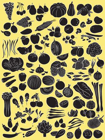 Vector illustratie van groenten en fruit in silhouet mode