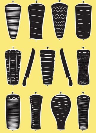 kabob: Vector set of doner kebabs in silhouette mode Illustration