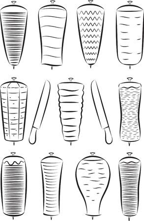 Vector set van döner kebab in lijntekeningen modus Stock Illustratie