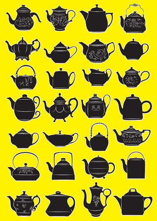 Vector illustration of teapots in silhouette mode
