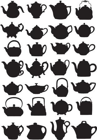 Vector illustratie van theepotten in silhouet mode