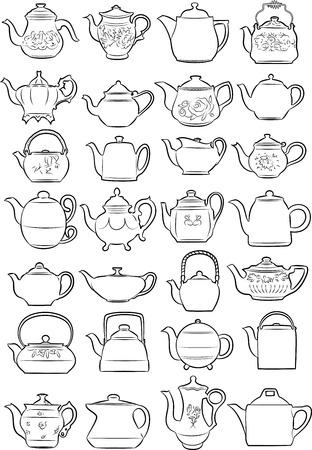 Vector illustratie van theepotten in lijntekeningen modus