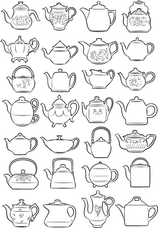 variety: Vector illustration of teapots in line art mode