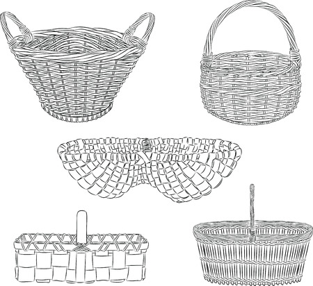 set of traditional baskets in line art  mode Illusztráció
