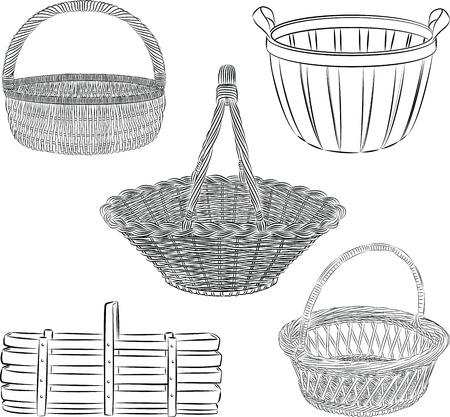 ライン アート モードの伝統的なバスケットのセット