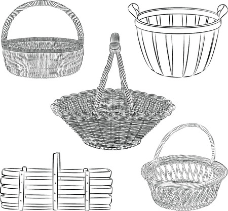 set of traditional baskets in line art  mode Illustration