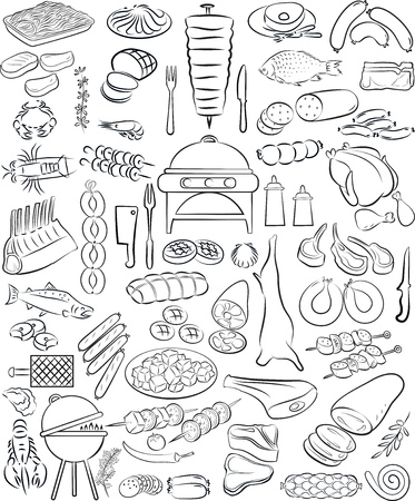 illustratie van de hand getekende vlees elementen in lijntekeningen modus