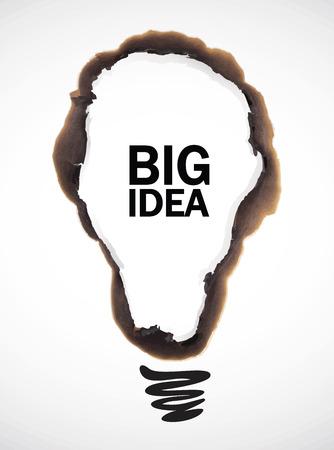illustratie van bol gevormde burn mark met grote idee tekst op een witte achtergrond