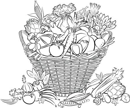 illustratie van mand vol met groenten in lijntekeningen modus