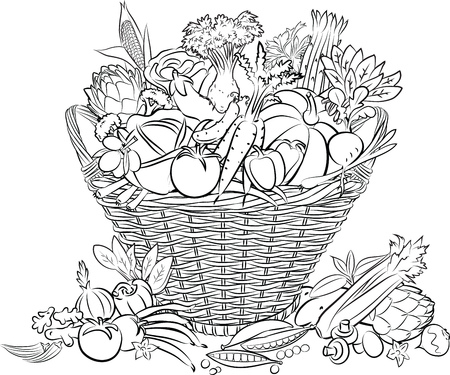 illustration of basket full of vegetables in line art mode