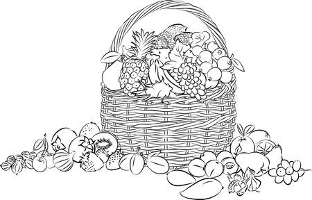canastas con frutas: ilustración de la cesta llena de frutas en el modo de línea de arte
