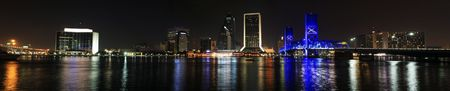 jacksonville: Jacksonville Florida Skyline as seen at night. Panorama