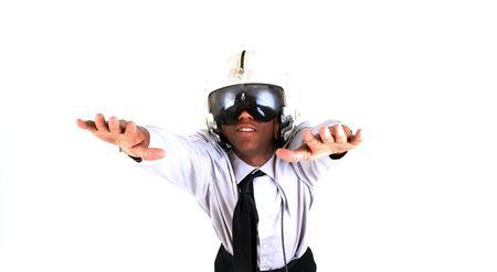 flight helmet: Man in flight helmet daydreaming
