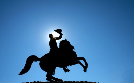 Silhouette of a statue of Andrew Jackson in New Orleans photo