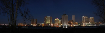 Panorama of New Orleans Skyline at Night Stock Photo - 8903920