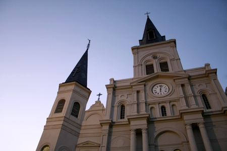 louis: Looking up at the St Louis Cathedral in New Orleans Stock Photo