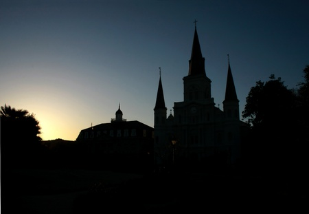 louisiana: Sun setting behind the St Louis Cathedral in New Orleans Stock Photo