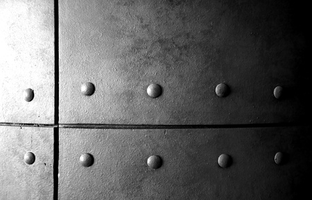 ironworks: A closeup of an old grey steel column Stock Photo