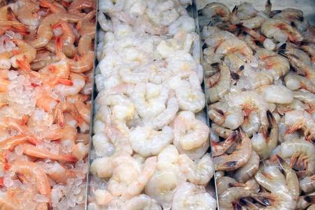 A selection of shrimp at a fish market