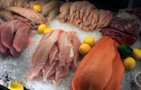 A variety of fish at a market Stock Photo