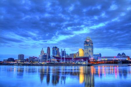 editorial: Editorial, Cincinnati Ohio skyline at 6am, January 16, 2012