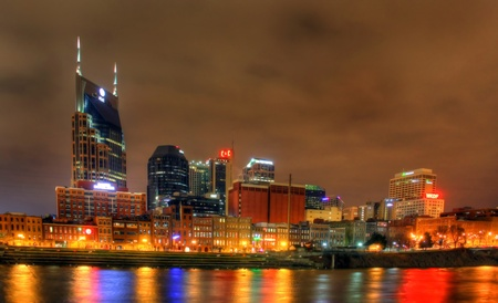10pm January 17 2012, Nashville Tennessee skyline as seen at night, editorial