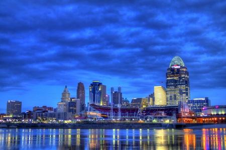 editorial: 6am Cincinnati Ohio editorial skyline as seen from riverbank of Newport Kentucky