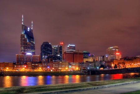 10pm Nashville Tennessee editorial skyline January 17th 2012