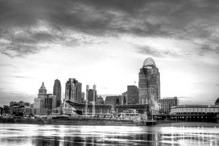 7am, January 16, 2012 Cincinnati Ohio skyline, editorial, as seen from the riverbank in Newport Kentucky