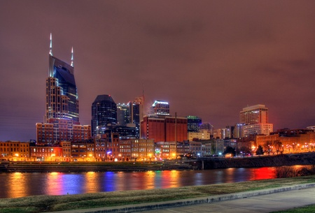 tennessee: Nashville Tennessee skyline at night Stock Photo